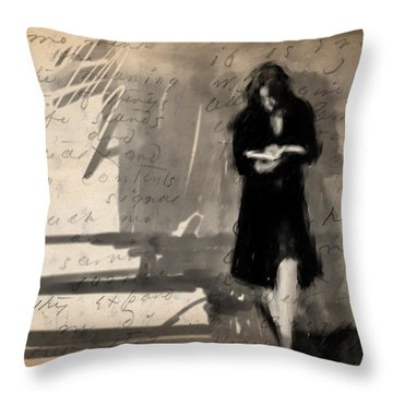Woman Reading Throw Pillow by H James Hoff