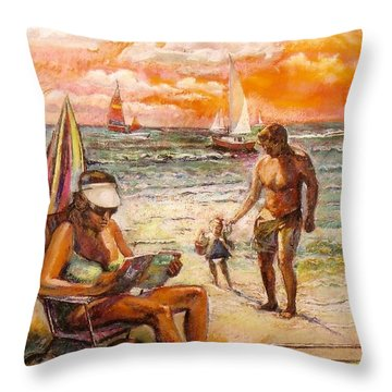 Woman Reading On The Beach Throw Pillow by Stan Esson