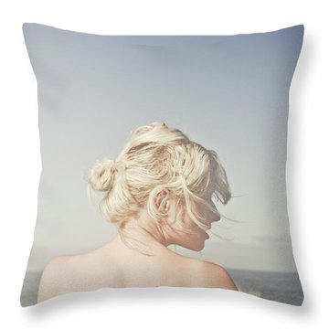 Woman Relaxing On The Beach Throw Pillow