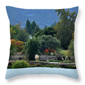 Woman Resting By A Lake Throw Pillow