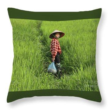 Woman Smile Rice Fields Throw Pillow