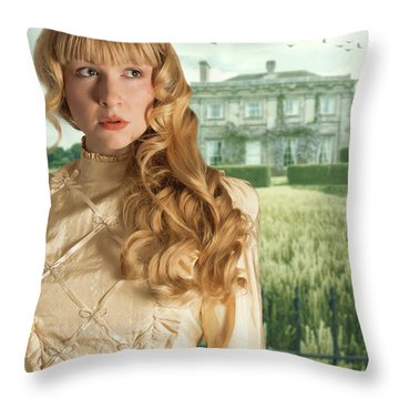Woman Standing Outside Manor House Throw Pillow