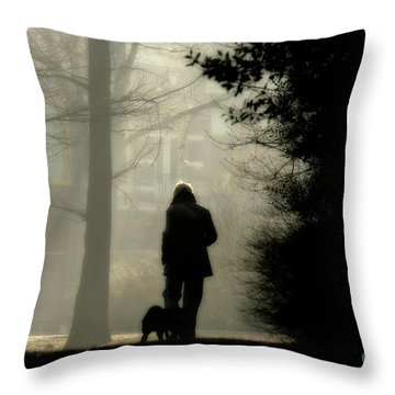 Throw Pillow featuring the photograph Woman Walking Dog by Patricia Hofmeester