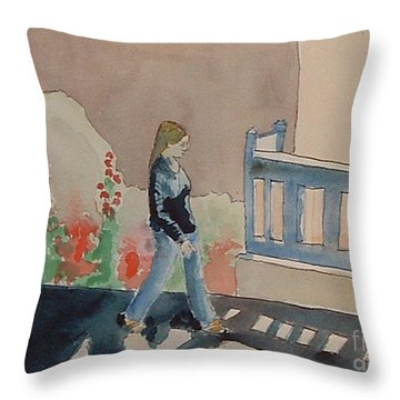 Woman Walking Down Nusbaum Street Throw Pillow