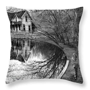 Woman Walking To Old House Throw Pillow by Jill Battaglia