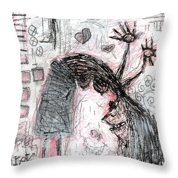 Woman Walking Upside Down Throw Pillow
