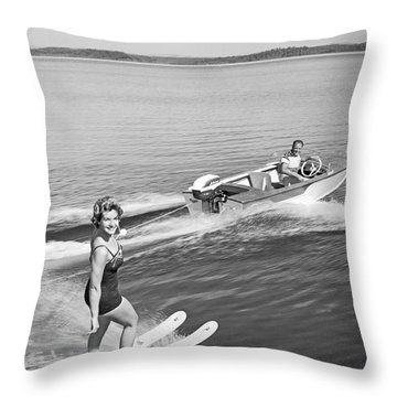 Woman Water Skiing Throw Pillow