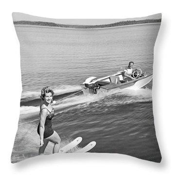 Woman Water Skiing Throw Pillow