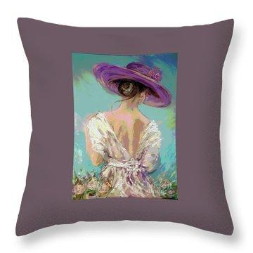 Woman Wearing A Purple Hat Throw Pillow
