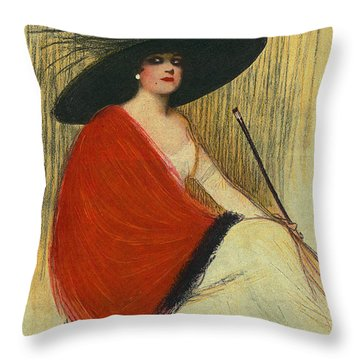 Woman Wearing Hat Throw Pillow