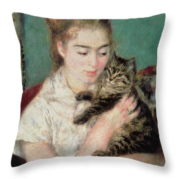 Woman With A Cat Throw Pillow by Pierre Auguste Renoir