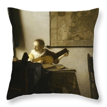 Woman With A Lute Near A Window Throw Pillow