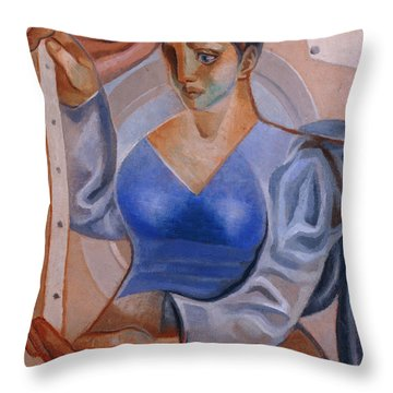 Woman With A Painting Throw Pillow