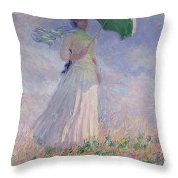 Woman With A Parasol Turned To The Right Throw Pillow