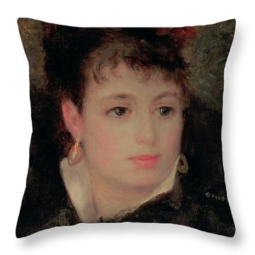 Woman With A Rose In Her Hair Throw Pillow by Renoir