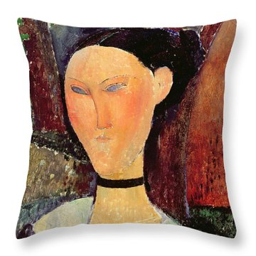 Woman With A Velvet Neckband Throw Pillow by Amedeo Modigliani