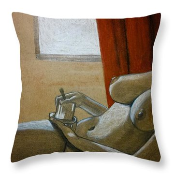 Woman With Coffee Throw Pillow