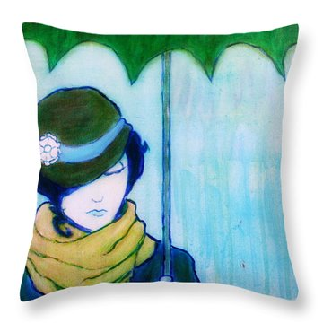 Woman With Green Umbrella Throw Pillow