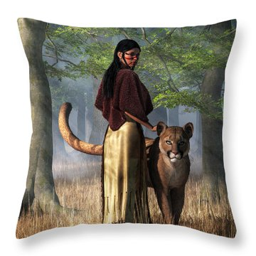 Woman With Mountain Lion Throw Pillow by Daniel Eskridge