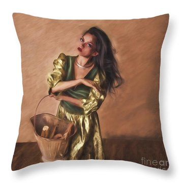 Woman With Pail  ... Throw Pillow