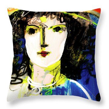Woman With Party Hat Throw Pillow