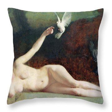 Woman With Pigeons Throw Pillow by Ernst Philippe Zacharie