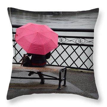 Woman With Pink Umbrella. Throw Pillow
