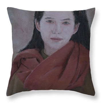 Woman With Scarf Throw Pillow