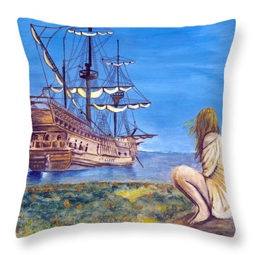 Woman With Spanish Ship Throw Pillow