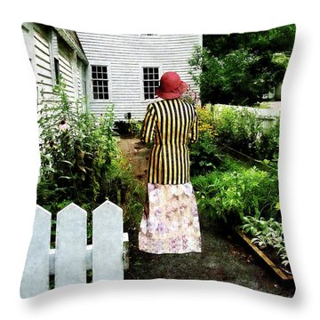 Woman With Striped Jacket And Flowered Skirt Throw Pillow by Susan Savad