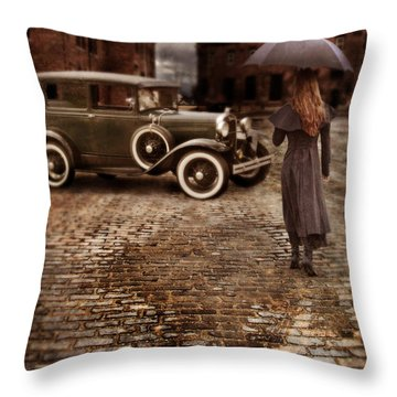 Woman With Umbrella By Vintage Car Throw Pillow