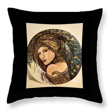 Woman With Veil Throw Pillow