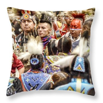 Women And Men Meet Throw Pillow by Clarice Lakota