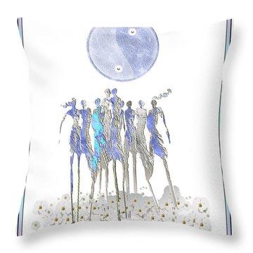 Women Chanting - Full Moon Flower Song Throw Pillow