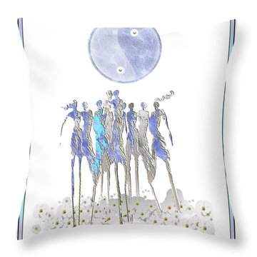Women Chanting - Full Moon Flower Song Throw Pillow