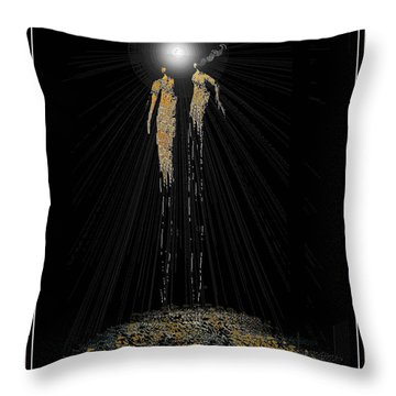 Women Chanting - Full Moon On The Mountain Throw Pillow