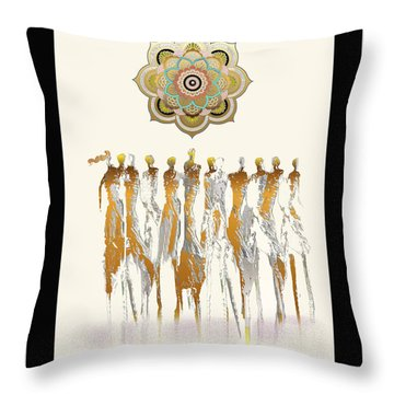 Women Chanting Mandala Throw Pillow