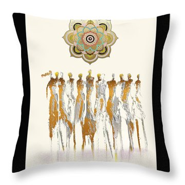 Women Chanting Mandala Throw Pillow