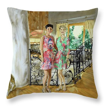 Women In Sunroom Throw Pillow