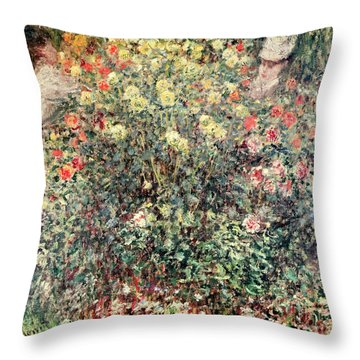 Women In The Flowers Throw Pillow by Claude Monet