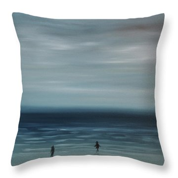 Throw Pillow featuring the painting Women On The Beach by Tone Aanderaa