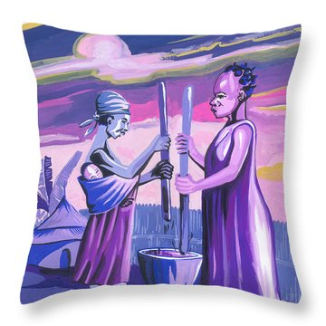 Throw Pillow featuring the painting Women Pounding Cassava by Emmanuel Baliyanga