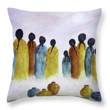 Women Waiting Throw Pillow
