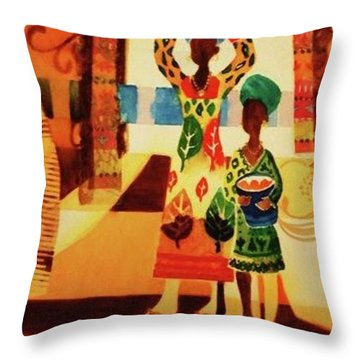 Women With Baskets Throw Pillow by Marilyn Jacobson