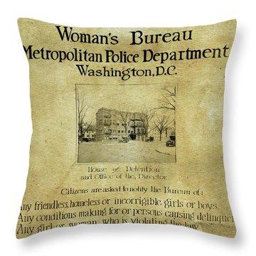 Women's Bureau House Of Detention Poster 1921 Throw Pillow