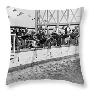 Women's Swimming Championship Throw Pillow