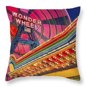 Wonder Wheel At Coney Island Throw Pillow by Susan Candelario
