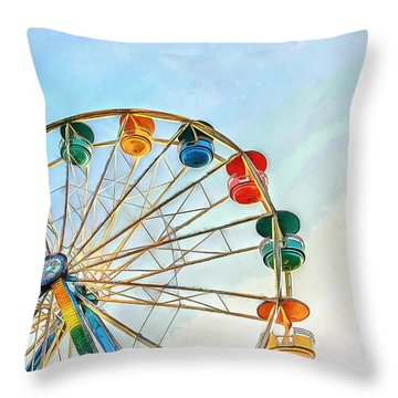 Throw Pillow featuring the painting Wonder Wheel by Edward Fielding