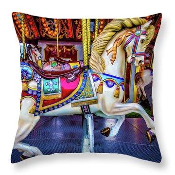 Wonderful Carrousel Horse Ride Throw Pillow