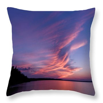 Throw Pillow featuring the photograph Wonderful Skeleton Lake Sunset by Darcy Michaelchuk